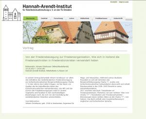 Hannah Arendt Institut Dresen. Einladung.