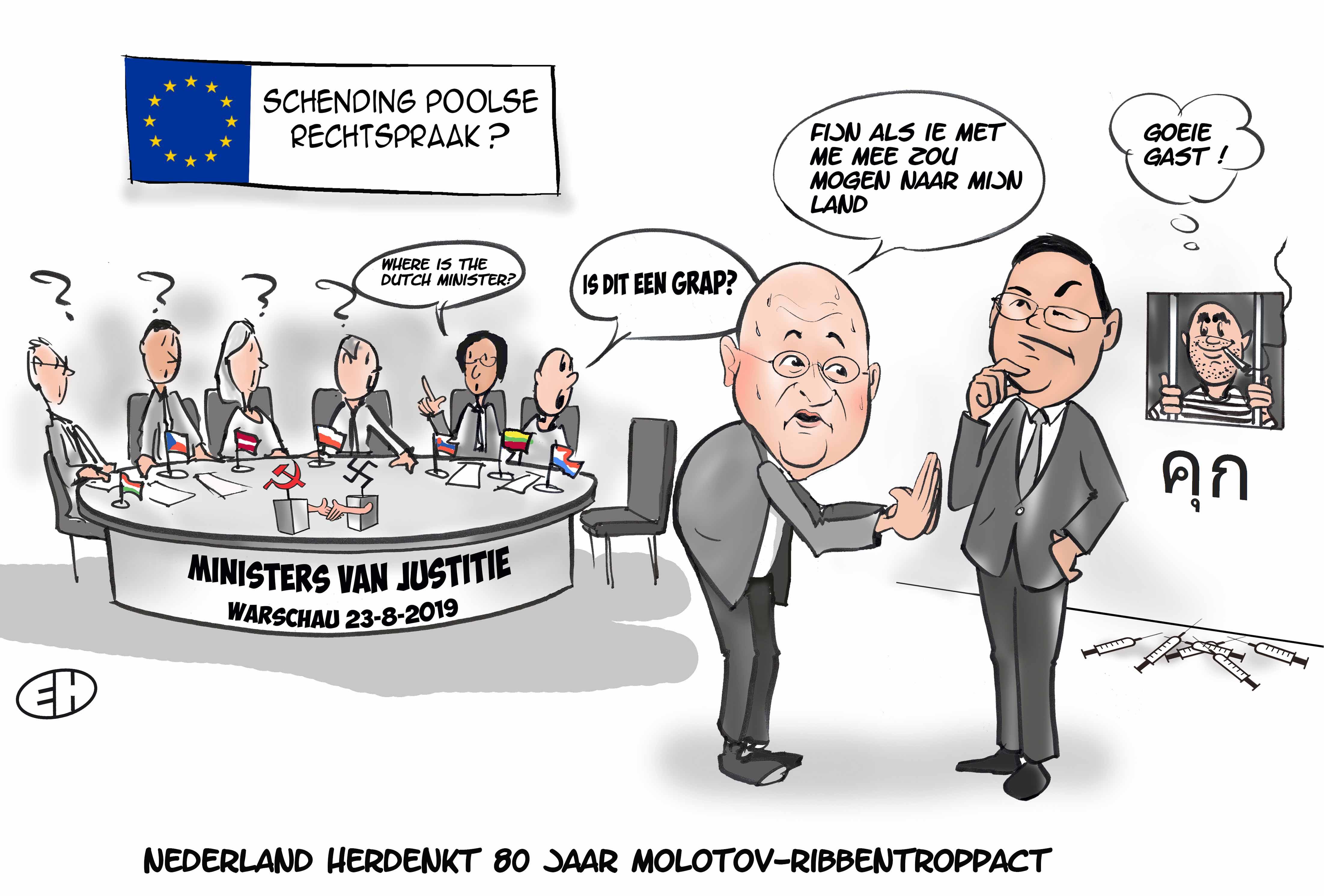 Cartoon over het wegblijven van minister Grapperhaus bij herdenking Molotov-Ribbentroppact te Warschauw 23 augustus 2019 waar de (mogelijke schending van de Poolse rechtspraak aan de orde gesteld werd.