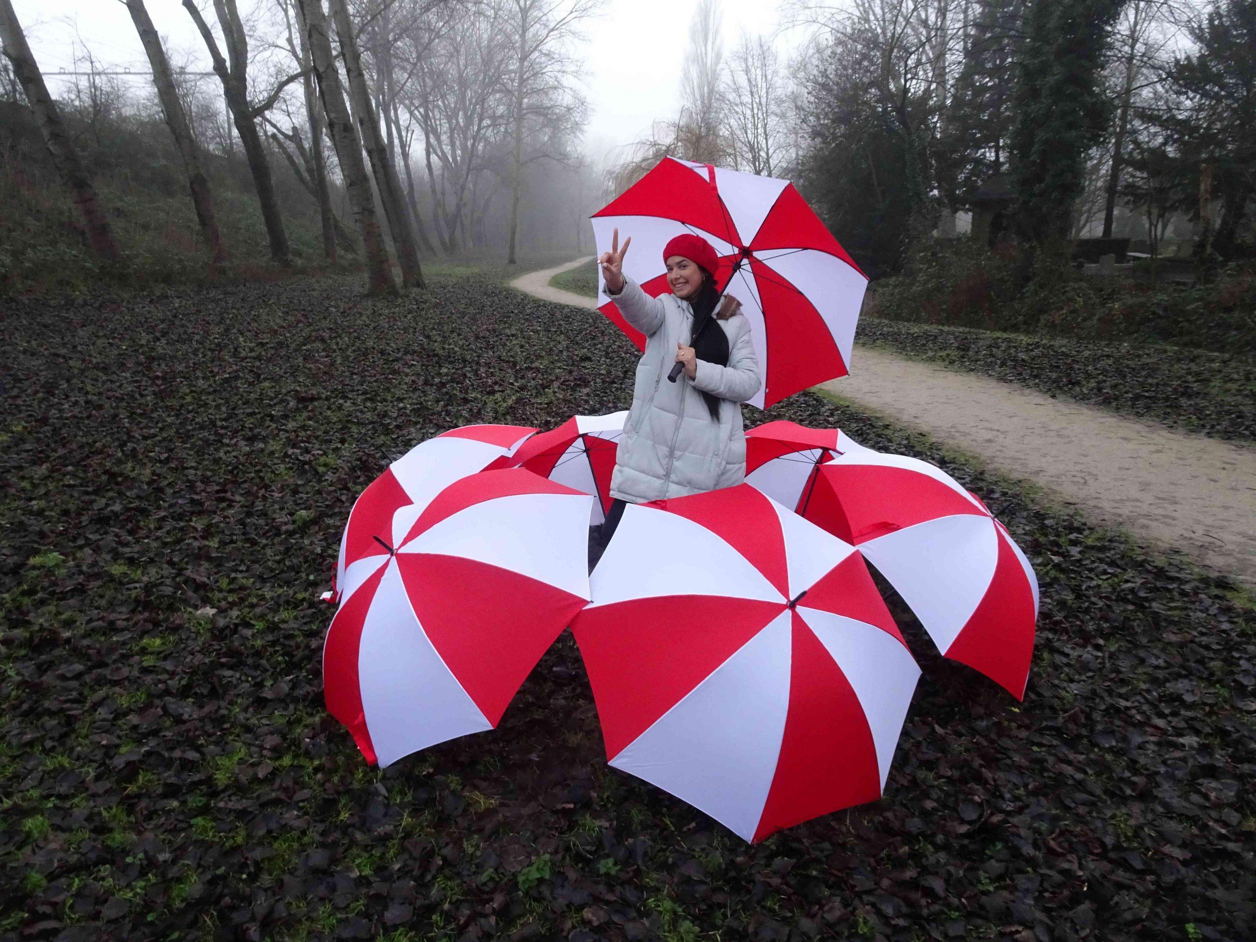 Roodwitte paraplu's voor een vrij Belarus
